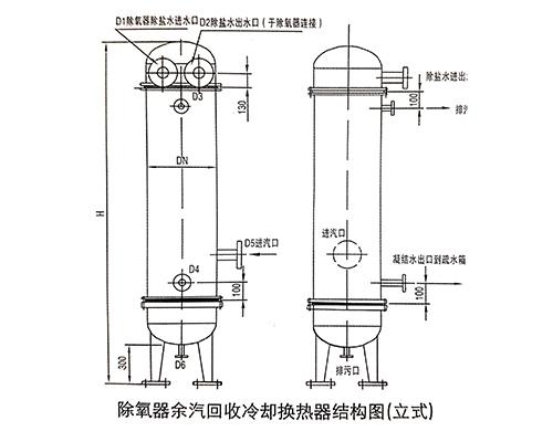 除氧器余汽回收冷却换热器结构图